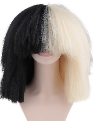 preiswerte Premium Perücken aus synthetischer Spitze-Synthetische Perücken Afro Afro-Frisur Vollspitze Perücke Mittlerer Länge Schwarz Synthetische Haare Damen 100% kanekalon haare Natürlicher Haaransatz Schwarz