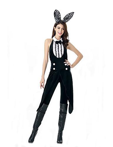 billige Sexy Uniformer-Bunny Jenter karriere Kostymer Cosplay Kostumer Party-kostyme Dame Film-Cosplay Trikot / Heldraktskostymer Hodeplagg Halloween Karneval polyester