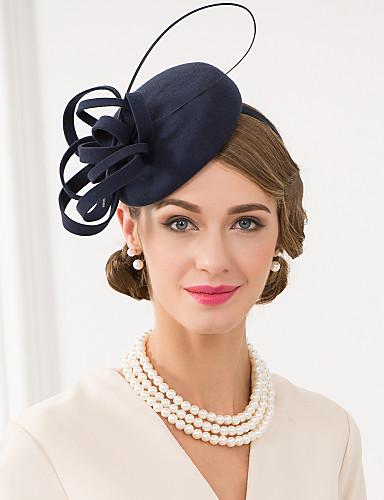 voordelige Koninklijke trouwjurken-Wol / Veer Kentucky Derby Hat / fascinators / hatut met Bloemen 1pc Bruiloft / Speciale gelegenheden  / Causaal Helm