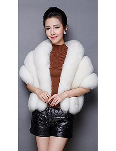 Γυναικεία Γούνινο παλτό Εξόδου Σέξι Μονόχρωμο 3b53025c6e1