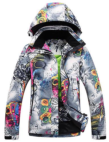 preiswerte Ski & Snowboards-Damen Skijacke warm halten Wasserdicht Windundurchlässig Skifahren Winter Sport Polyester Winterjacken Skikleidung / Blumen Pflanzen