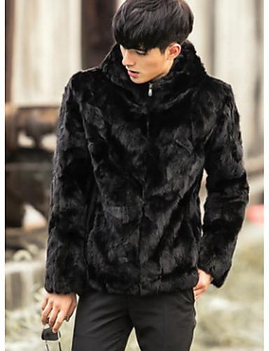 Cappotto di pelliccia Da uomo Per uscire   Casual Inverno Vintage ... b9b62f321f9