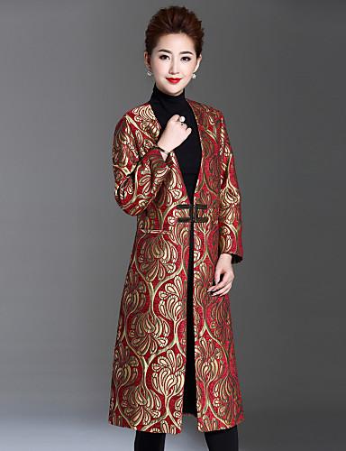 Γυναικεία Μάξι Παλτό Κινεζικό στυλ - Φλοράλ Βαθύ V 5439674 2019 –  104.99 061c6f1c1f4