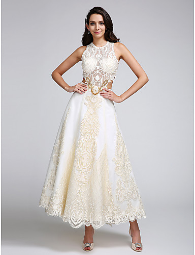 Satin Ankle Length Wedding Dresses