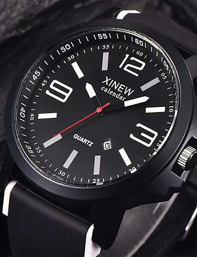 สำหรับผู้ชาย นาฬิกาแนวสปอร์ต นาฬิกาข้อมือ นาฬิกาอิเล็กทรอนิกส์ (Quartz) ยางทำจากซิลิคอน ดำ ปฏิทิน เท่ห์ ระบบอนาล็อก สีเหลือง แดง ฟ้า / สแตนเลส