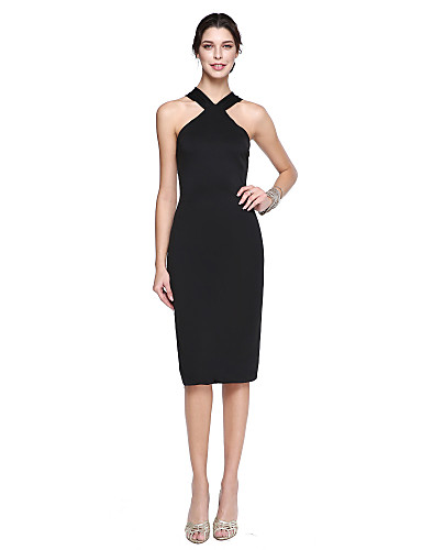 cheap Free Shipping-Back To School Sheath / Column Little Black Dress Celebrity Style Holiday Homecoming Cocktail Party Dress Halter Neck Sleeveless Knee Length Matte Satin with Pleats 2020 / Prom Hoco Dress