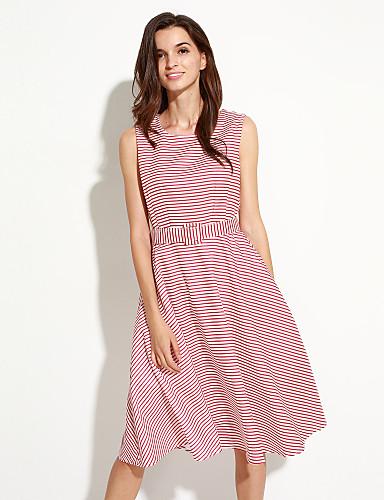 800f6cc361f5 Γυναικεία Φόρεμα Κομψό στυλ street Γραμμή Α Ριγέ Μίντι Στρογγυλή Λαιμόκοψη  Πολυεστέρας 5053073 2019 –  23.99