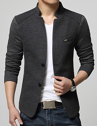e570c9ab0 Men's Daily Street chic Spring / Fall Plus Size Regular Blazer, Solid  Colored Stand Long Sleeve Cotton / Acrylic / Polyester Gray / Navy Blue /  Wine XL ...