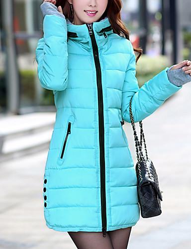 voordelige Dames donsjassen & parka's-Dames Dagelijks Effen Normaal Dons, Polyester Lange mouw Herfst / Winter Capuchon Blauw / Roze / Lichtblauw XL / XXL / XXXL