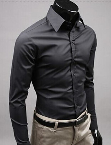 cheap Sale-Men's Wedding Formal Work Business / Street chic Slim Shirt - Solid Colored Yellow / Long Sleeve