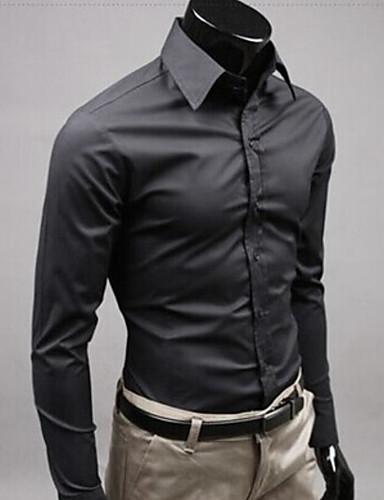 baratos Camisas Brancas-Homens Casamento Camisa Social Sólido Manga Longa Delgado Blusas Negócio Moda de Rua Branco Preto Amarelo / Trabalho