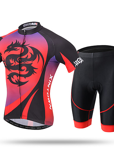cheap Cycling-XINTOWN Men's Short Sleeve Cycling Jersey with Shorts Summer Coolmax® Mesh Spandex Red Novelty Bike Shorts Pants / Trousers Jersey 3D Pad Ultraviolet Resistant Quick Dry Breathable Reflective Strips