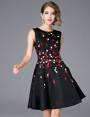 6199 Mujer Línea A Vestido Diario Tejido Orientalfloral Escote Redondo Sobre La Rodilla Sin Mangas Algodón Poliéster Otoño Tiro Medio Rígido