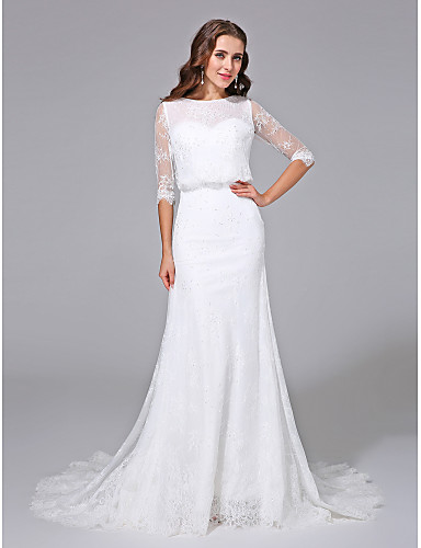 cheap Wedding Dresses-Mermaid / Trumpet Scoop Neck Court Train Satin / Lace Over Tulle Half Sleeve Simple Backless / Illusion Sleeve Wedding Dresses with Beading 2020 / Royal Style