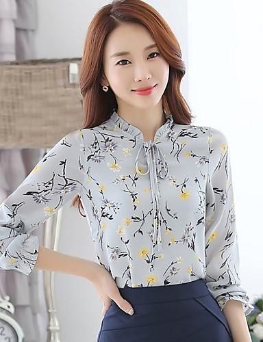 billige Skjorter til damer-Høy krage Skjorte Dame - Blomstret, Trykt mønster Gatemote Svart