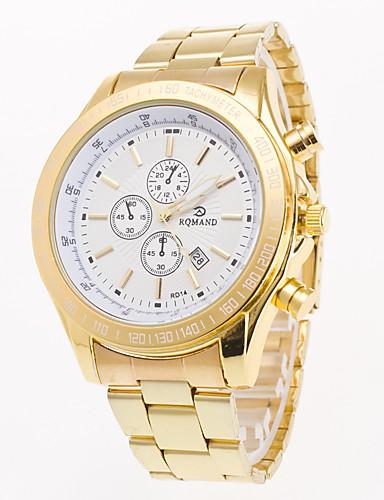สำหรับผู้ชาย นาฬิกาข้อมือ นาฬิกาอิเล็กทรอนิกส์ (Quartz) สแตนเลส ทอง ปฏิทิน เท่ห์ ระบบอนาล็อก ไม่เป็นทางการ แฟชั่น - ขาว สีดำ ฟ้า