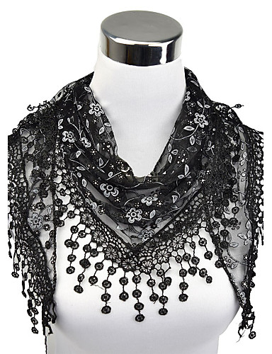 cheap The Best Accessories-Women's Work Lace Rectangle Scarf - Floral Cut Out / Tassel / Fabric