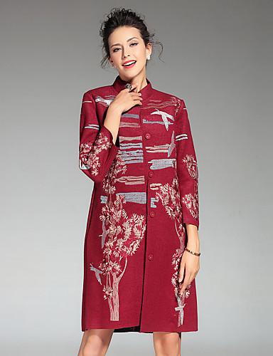 Γυναικεία Παλτό Καθημερινά   Μεγάλα Μεγέθη Κινεζικό στυλ Κέντημα 169c760b321