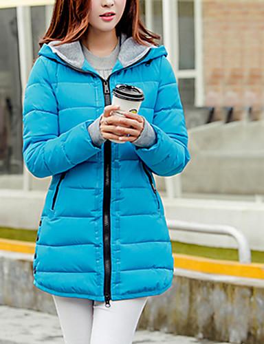 levne Dámské parky a paleta-Dámské Denní Jednobarevné Standardní Dlouhý kabát, Polyester Dlouhý rukáv Podzim / Zima Kapuce Modrá / Růžová / Světle modrá XL / XXL / XXXL