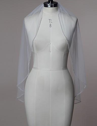 ชั้นเดียว Beaded Edge ผ้าคลุมหน้าชุดแต่งงาน Elbow Veils / ผ้าคลุมศรีษะสำหรับชุดแต่งงาน กับ ของประดับด้วยลูกปัด Tulle / คลาสสิก