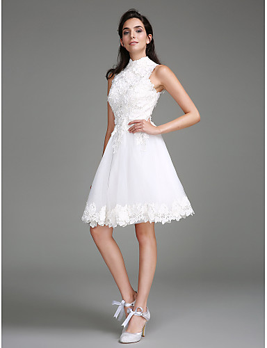 cheap Free Shipping-A-Line Wedding Dresses High Neck Knee Length Lace Regular Straps Little White Dress with Lace 2020
