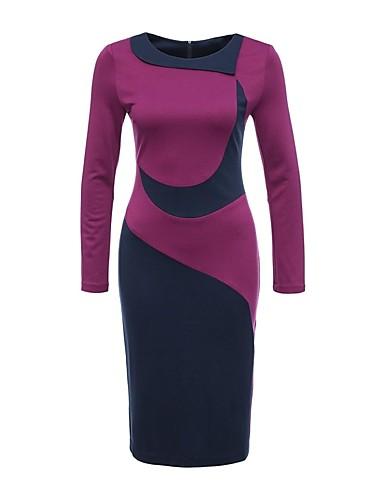 levne Pracovní šaty-Dámské Větší velikosti Práce Bavlna Bodycon Šaty - Barevné bloky Délka ke kolenům