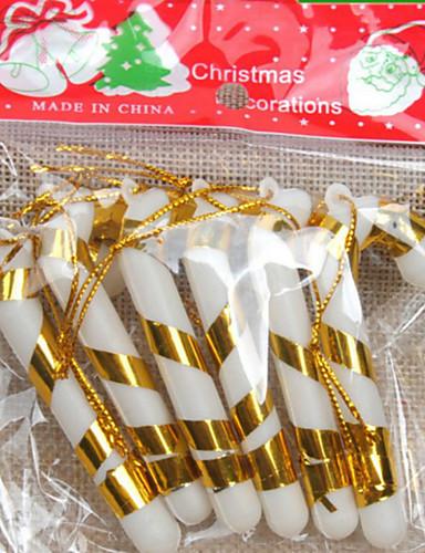 preiswerte Hängende Weihnachtsdekoration-6pcs den Christbaumschmuck kleine Zuckerstangen 7cm zufällige Farbe