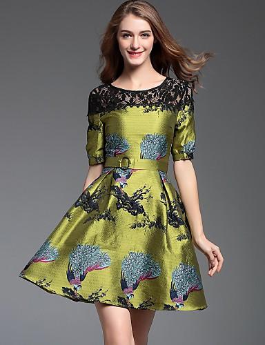 a60325da2 Mujer Línea A Vestido Casual Diario Tejido Oriental