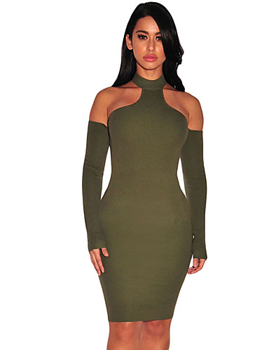 e6fdf5d48b57 Γυναικεία Εφαρμοστό Φόρεμα - Μονόχρωμο