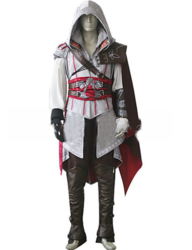 cheap Videogame Costumes-Inspired by Assassin Cosplay Video Game Cosplay Costumes Cosplay Suits Solid Colored Long Sleeve Coat Pants Belt Costumes / Cloak / Legguards / Cloak / Legguards