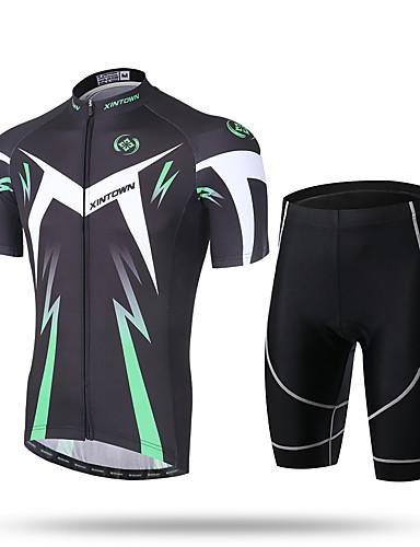povoljno Odjeća za vožnju biciklom-Muškarci Kratkih rukava Biciklistička majica s kratkim hlačama - Zeleni i crni Crna / crvena Bicikl Kratke hlače Hlače Biciklistička majica Prozračnost Pad 3D Quick dry Ultraviolet Resistant
