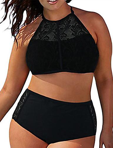 billige Bikinier og damemote-Dame Store størrelser Grime Svart Underbukser Bikini Badetøy - Ensfarget Blonde, Blonder XXXXL XXXXXL XXXXXXL Svart