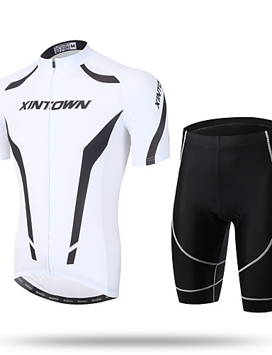 cheap Cycling-Men's Short Sleeve Cycling Jersey with Shorts Summer Coolmax® Mesh Spandex Novelty Bike Shorts Pants / Trousers Jersey 3D Pad Ultraviolet Resistant Quick Dry Breathable Reflective Strips Sports