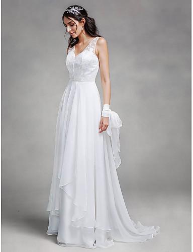A-linje V-hals Svepsläp Chiffong / Spets Regelbundna band Bröllopsklänningar tillverkade med Spets 2020