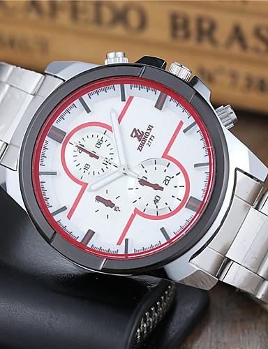สำหรับผู้ชาย นาฬิกาแนวสปอร์ต นาฬิกาข้อมือ นาฬิกาอิเล็กทรอนิกส์ (Quartz) สแตนเลส สีขาว ลดกระหน่ำ ระบบอนาล็อก คลาสสิก ไม่เป็นทางการ แฟชั่น นาฬิกาตกแต่งข้อมือ - สีดำ ขาว