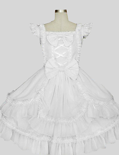 cheap Lolita Dresses-Princess Sweet Lolita Outfits Women's Girls' Cotton Japanese Cosplay Costumes White Solid Colored Sleeveless Knee Length