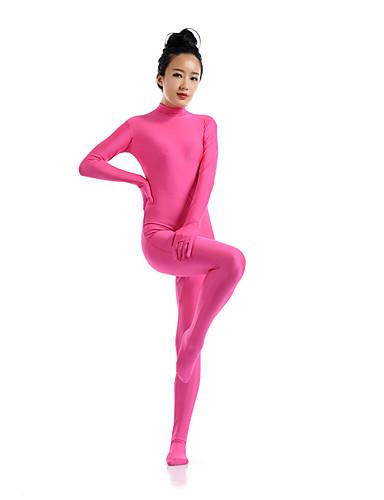billige Zentai-Zentai Drakter Catsuit Huddrag Ninja Voksne Spandex Elastan Cosplay-kostymer Kjønn Herre Dame Rosa / Blæk Blå / Mørkegrønn Ensfarget Jul Halloween / Høy Elastisitet