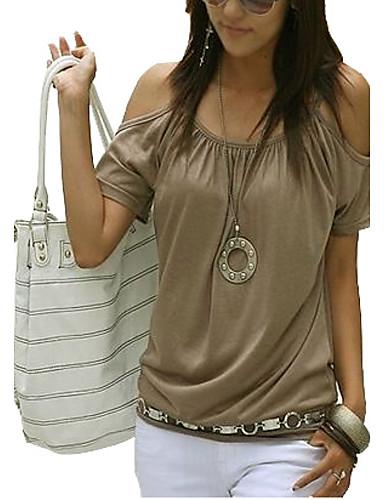 billige Dametopper-Bomull Med stropper / Løse skuldre Store størrelser T-skjorte Dame - Ensfarget, Utskjæring Gatemote Hvit / Sommer