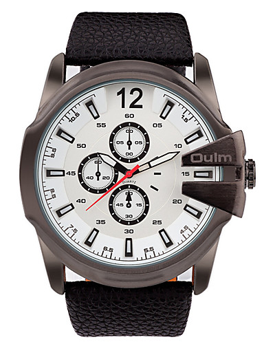 c9cfea4363b Oulm Masculino Relógio de Pulso Quartzo   Couro Legitimo Banda Legal Casual  Preta de 5497158 2019 por  23.99