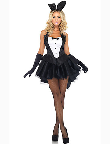 billige Sexy Uniformer-Dame Bunny Jenter karriere Kostymer Kjønn Cosplay Kostumer Party-kostyme Ensfarget Kjole Hansker Hodeplagg
