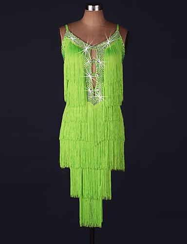 levne Shall We®-Latinské tance Šaty Dámské Výkon Spandex / Organza Korálky / Třásně Bez rukávů Přírodní Šaty