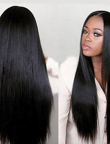 povoljno Perike s ljudskom kosom-Virgin kosa Full Lace Perika Minaj stil Brazilska kosa Ravan kroj Yaki Perika 130% 150% Gustoća kose s dječjom kosom Afro-američka perika Za crnkinje Unaprijed iskopali Izbijeljeni čvorovi Žene