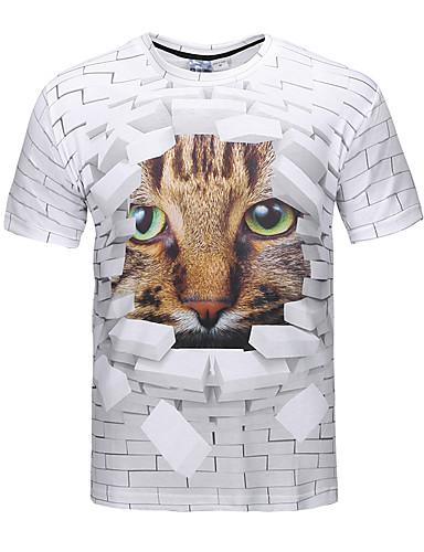 voordelige Heren T-shirts & tanktops-Heren Street chic / Punk & Gothic Print T-shirt Feest / Club 3D / dier Ronde hals Bruin / Korte mouw / Lente / Zomer