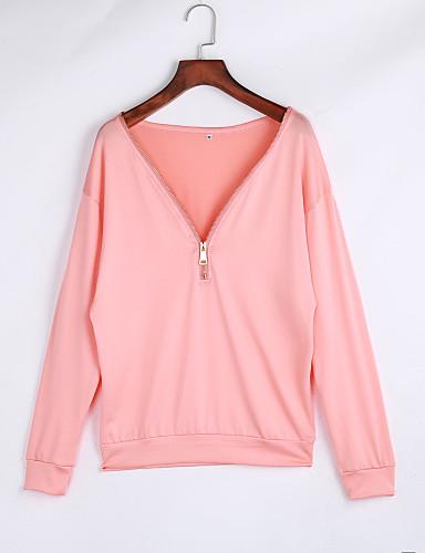 billige T-skjorter til damer-Bomull V-hals Store størrelser T-skjorte Dame - Ensfarget Svart / Vår / Høst / Sexy