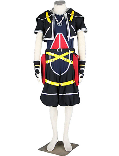 cheap Anime Costumes-Inspired by Kingdom Hearts Cosplay Anime Cosplay Costumes Japanese Cosplay Suits Solid Colored Coat Pants Gloves For Men's / T-shirt / Necklace / Belt / More Accessories / Belt
