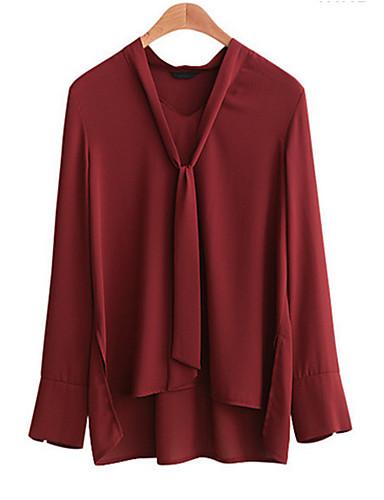 billige Dametopper-V-hals Store størrelser Skjorte Dame - Ensfarget Gatemote / Sofistikert Svart / Høst / Vinter