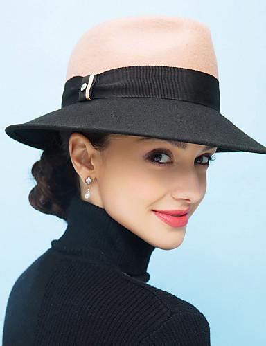 voordelige Mode-accessoires-Dames Vintage Informeel Wol,Kleurenblok Vissershoed-Lente Herfst Winter Zwart Kameel
