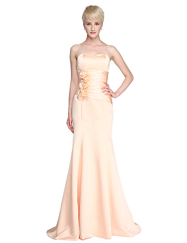 cheap Bridesmaid Dresses-Mermaid / Trumpet Strapless / Sweetheart Neckline Floor Length Satin Bridesmaid Dress with Draping / Flower