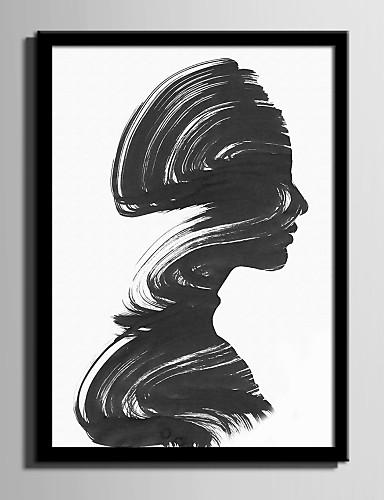 preiswerte Abstrakte gerahmte Kunst-Gerahmtes Leinenbild Gerahmtes Set Abstrakt Menschen Wandkunst, PVC Stoff Mit Feld Haus Dekoration Rand Kunst Wohnzimmer Schlafzimmer