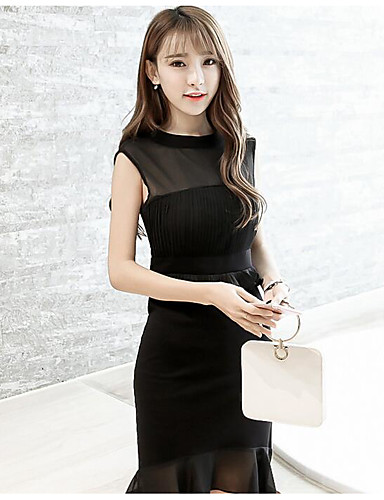 Womens Going Out Sexy Loose Little Black Dresssolid Crew Neck Midi